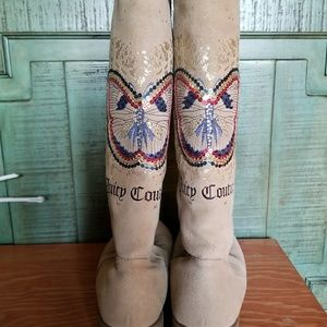 JUICY COUTURE RARE BUTTERFLY WINTER WARM BOOTS 7